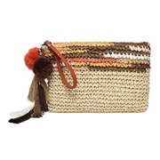 Daisy Rose Colorful Clutch- Straw Handbag with Vegan Leather Handles and Pom Poms- Brown Multi Color