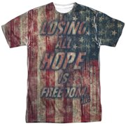 Fight Club Action Distressed Losing All Hope Flag Adult Front Print T-Shirt