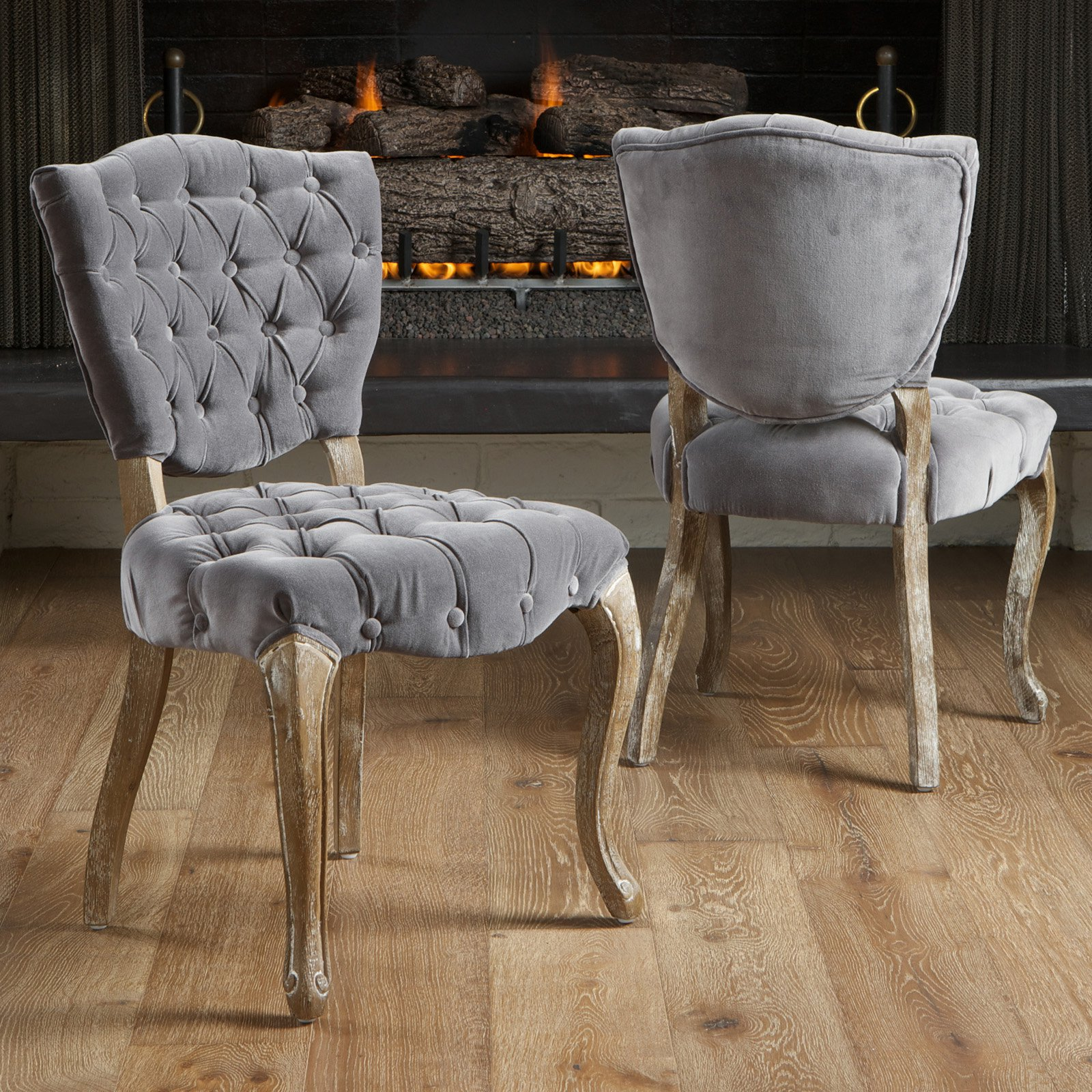 Best Selling Home Decor Middleton Tufted Grey Fabric Dining Chairs   2 Pack    Walmart.com