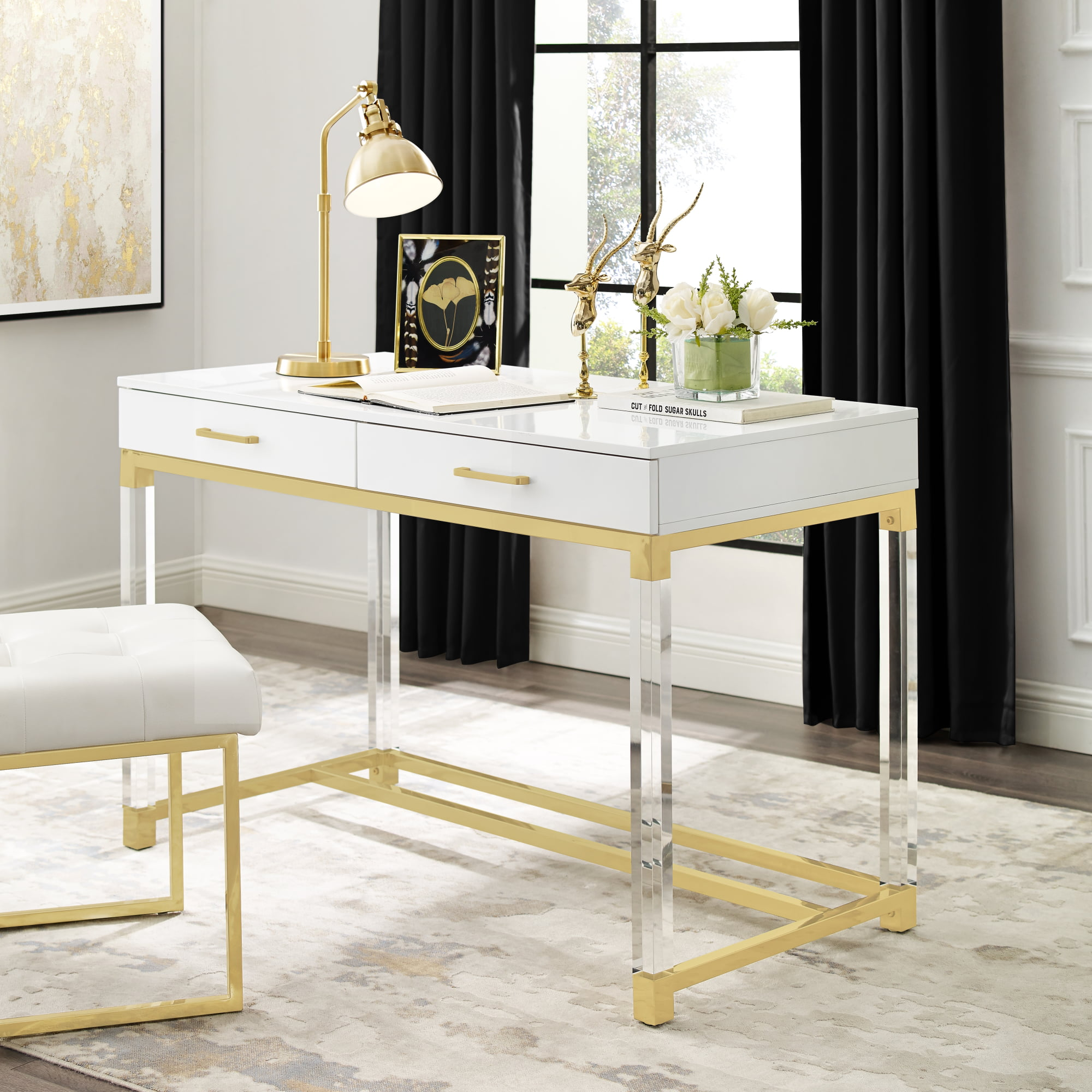 Alena White Writing Desk - 2 Drawers | High Gloss | Acrylic Legs | Gold Stainless Steel Base ...