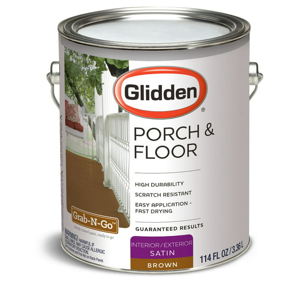 Glidden Porch Floor Grab N Go Interior Exterior Paint Primer Brown 1 Gallon Satin Walmart Com Walmart Com