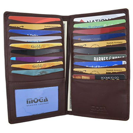 Moga Genuine Leather Men's Deluxe Bifold Multi Credit Card Case ID Wallet (Brown)