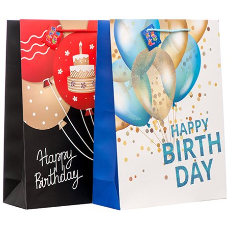 New 374119 Gift Bag Happy Birthday W Glitter Large Asst Clr Degn 12