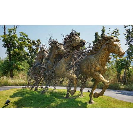 LAMINATED POSTER Art Artwork Horses Metal Sculpture Racing Poster Print 24 x 36 (Horse Racing Photo)