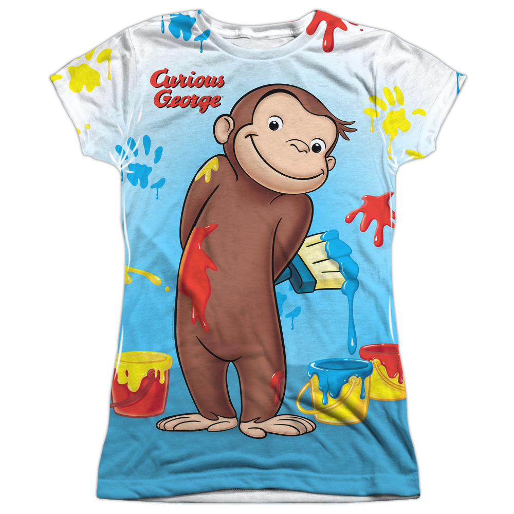 Curious George Paint All Over Juniors Sublimation Shirt