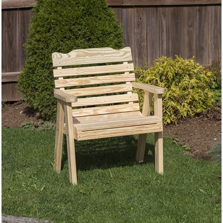 Outdoor Patio Garden Lawn Exterior 2 Ft Natural Finish Amish Heavy Duty 800 Lb Classic Park Style Kiln-Dried Pine Chair Amish Made Outdoor Furniture