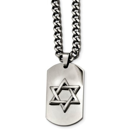 Mia Diamonds Stainless Steel Star of David Dog Tag Pendant Necklace Chain ()