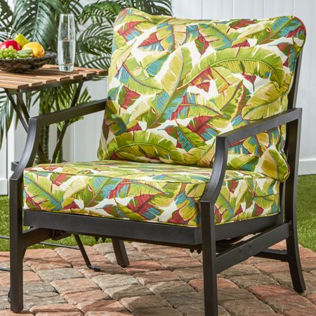 Greendale Home Fashions Palm Leaves Outdoor Deep Seat Cushion Set ()