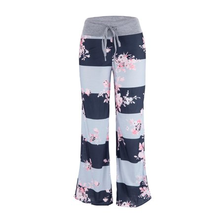 c909524c0d00 SAYFUT - Women s Loose Baggy Yoga Long Pants Floral Printed Trousers Flowy Beach  Pants - Walmart.com