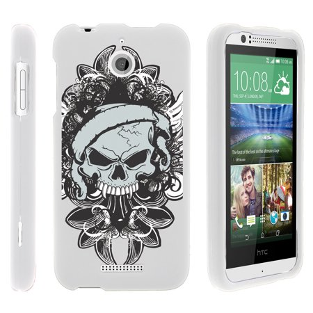 Htc Desire 510   Snap Shell  White  2 Piece Snap On Rubberized Hard White Plastic Cell Phone Case With Exclusive Art    Demon Skull