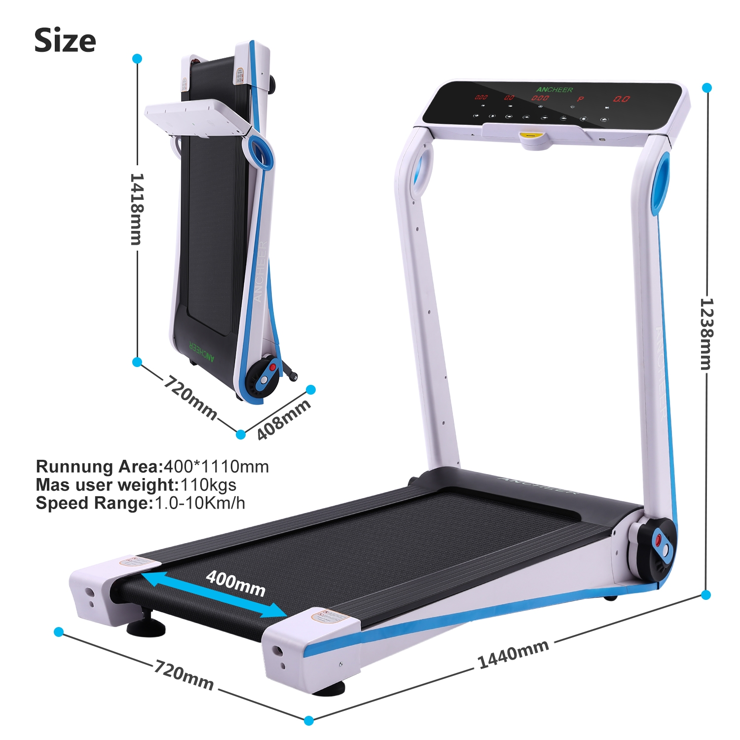 Folding Electric Treadmill Exercise Equipment Running Machine with Heart Rate Monitor  WCYE