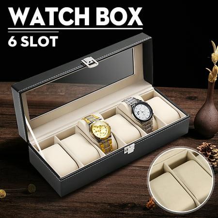 PU Leather 6 Slots Grid Men Wrist Watch Storage Box Holder Glass Top Display Woman Jewelry Organizer Case (Watch Holder For Men)