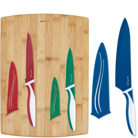 GoodCook Silver Knife Set with Bamboo Cutting Board, (Best Knife For Cutting Hard Salami)