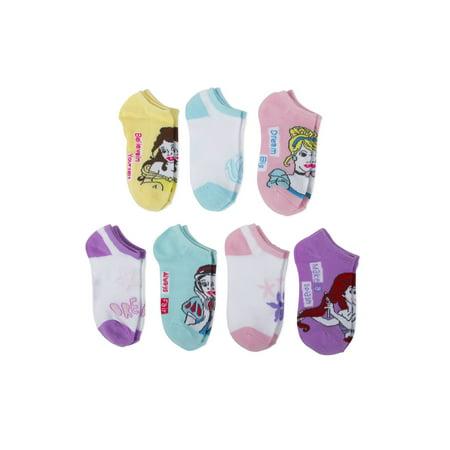 Disney Princess No Show Socks, 5 + 2 Bonus Pack (Little Girls & Big Girls) for $<!---->