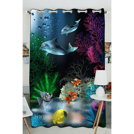 Phfzk Cute Animal Window Curtain, The Underwater World With Dolphins And Plants Window Curtain Blackout Curtain For Bedroom Living Room Kitchen Room 52X84 Inches One Piece Dolphin Crystal Curtain