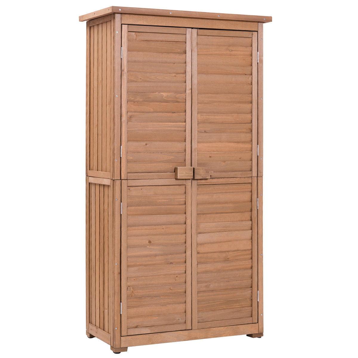 "GHP 63""x18.1""x33.1"" Fir Wood Brown Garden Shed Cabinet with Black Asphalt Roof"