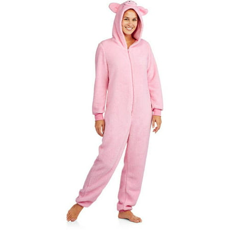 5b2c60e78145 MJC - Pink Pig Hooded Sherpa One Piece Union Suit Pajama - Walmart.com