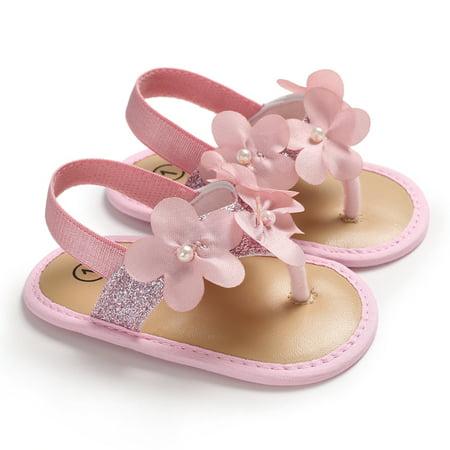 Newborn Infant Baby Girl Flower Shoes Sandles Summer Holiday Shoes Prewalker Crib Shoes Pink