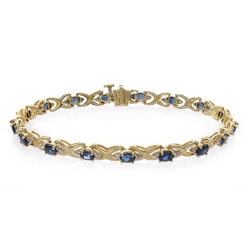 0.20 Carat Diamond and 2.55 Carat Sapphire 14k Yellow Gold Link Bracelet by
