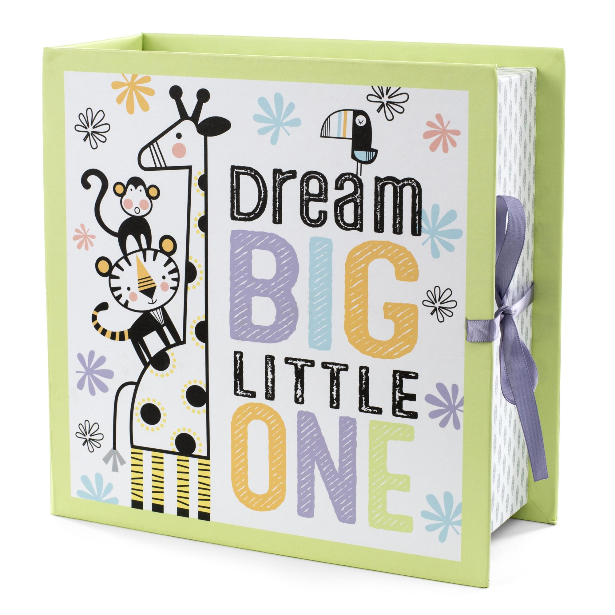 """Tricoastal Design- Printed Baby Keepsake Box With """"Dream Big Little One"""" Quote"""