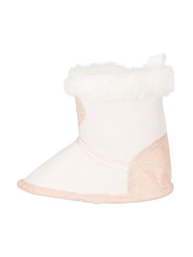 bebe Infant Girls Winter Boots Size 4 with Glitter Heart and Cuffs Shoes Light Pink