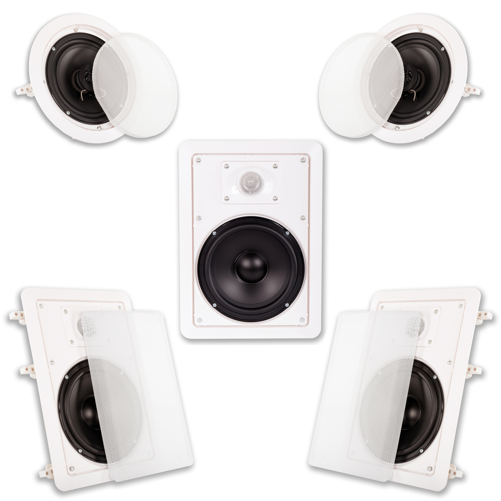 "Acoustic Audio HT65 In Wall and In Ceiling 6.5"" Home Theater Surround Sound 5 Speaker Set"