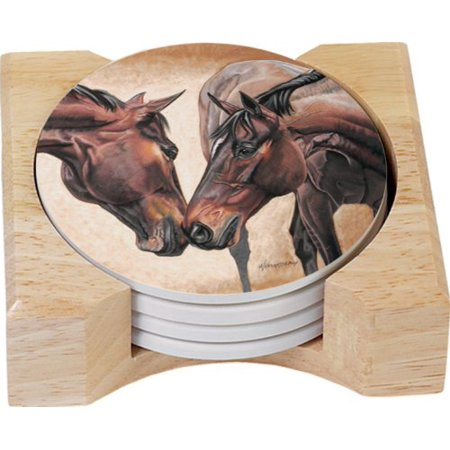 Wooden Coaster Set - CounterArt Horse Kiss Design Round Absorbent Coasters in Wooden Holder, Set of 4