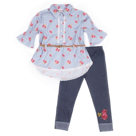 Bell Sleeve Floral Poplin Blouse & Knit Denim Jeans, 2-Piece Outfit Set (Toddler Girls)