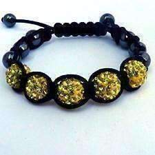 Sparkly Crystals Hand Made Shamballa - Yellow Crystal and Hematite Shamballa Bracelet Yellow