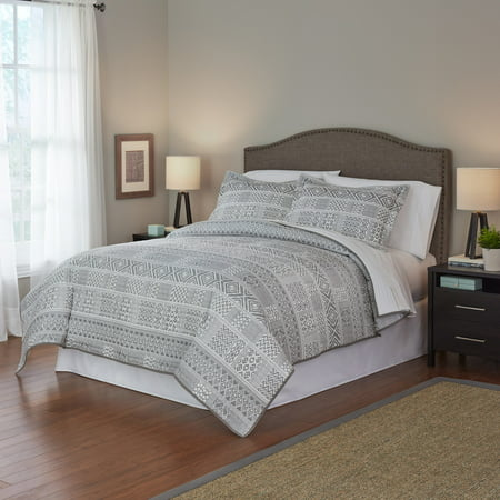 Mainstays Grey Aztec Full/Queen Quilt (Black And White Quilt Patterns For Beginners)