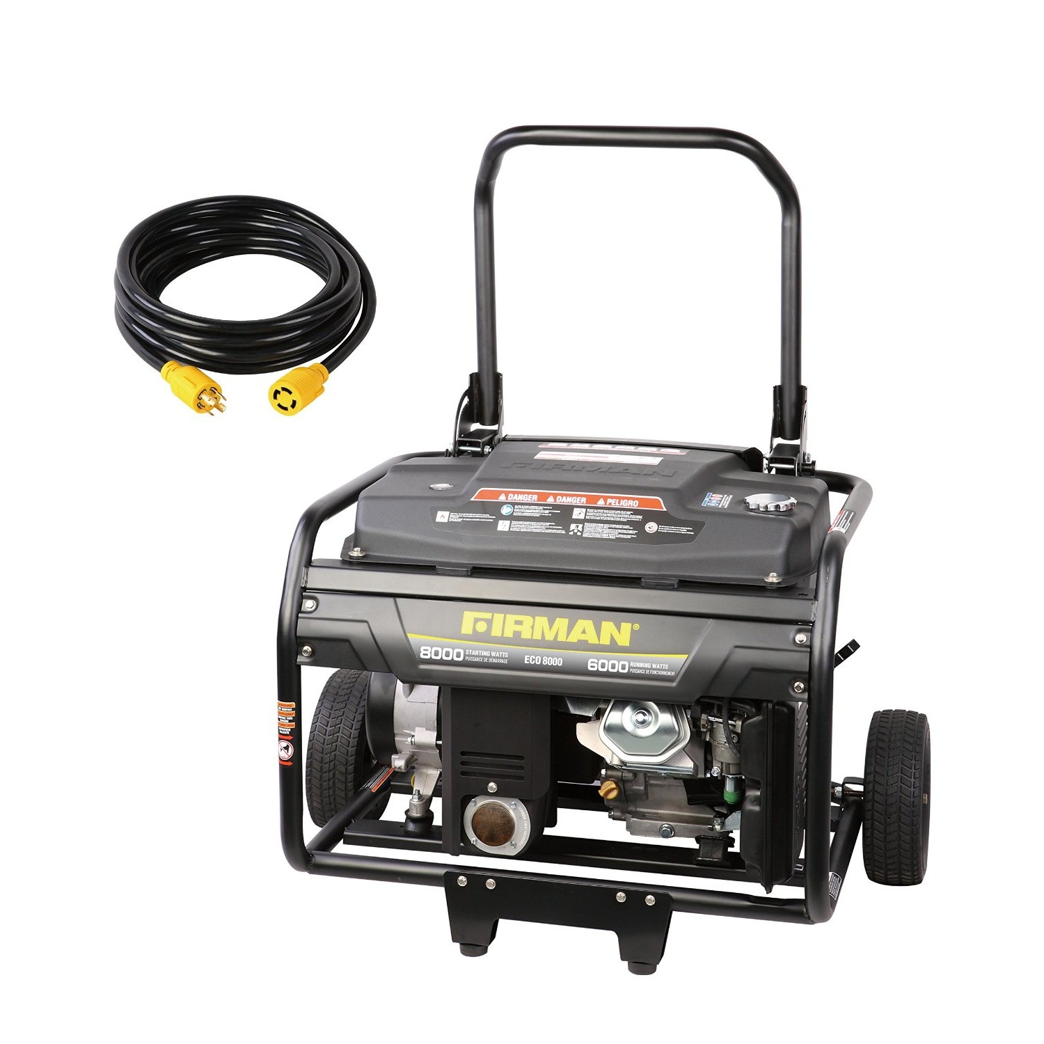 Firman Generators ECO8000 15 HP Gas Powered Portable Generator with Wheel Kit and 25Ft. Cord
