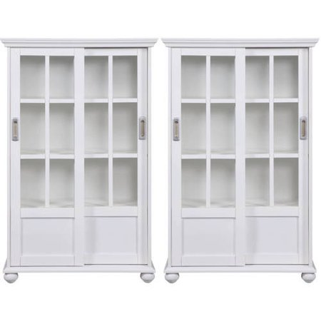 Arron Lane 4-Shelf Sliding Glass Door Bookcase, Set of 2, Multiple Colors