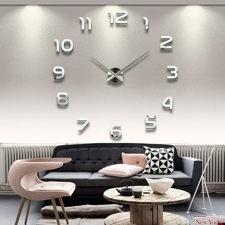 DIY Large Number Wall Clock 3D Mirror Sticker Modern Home Office Decor Art Decal Silver ()
