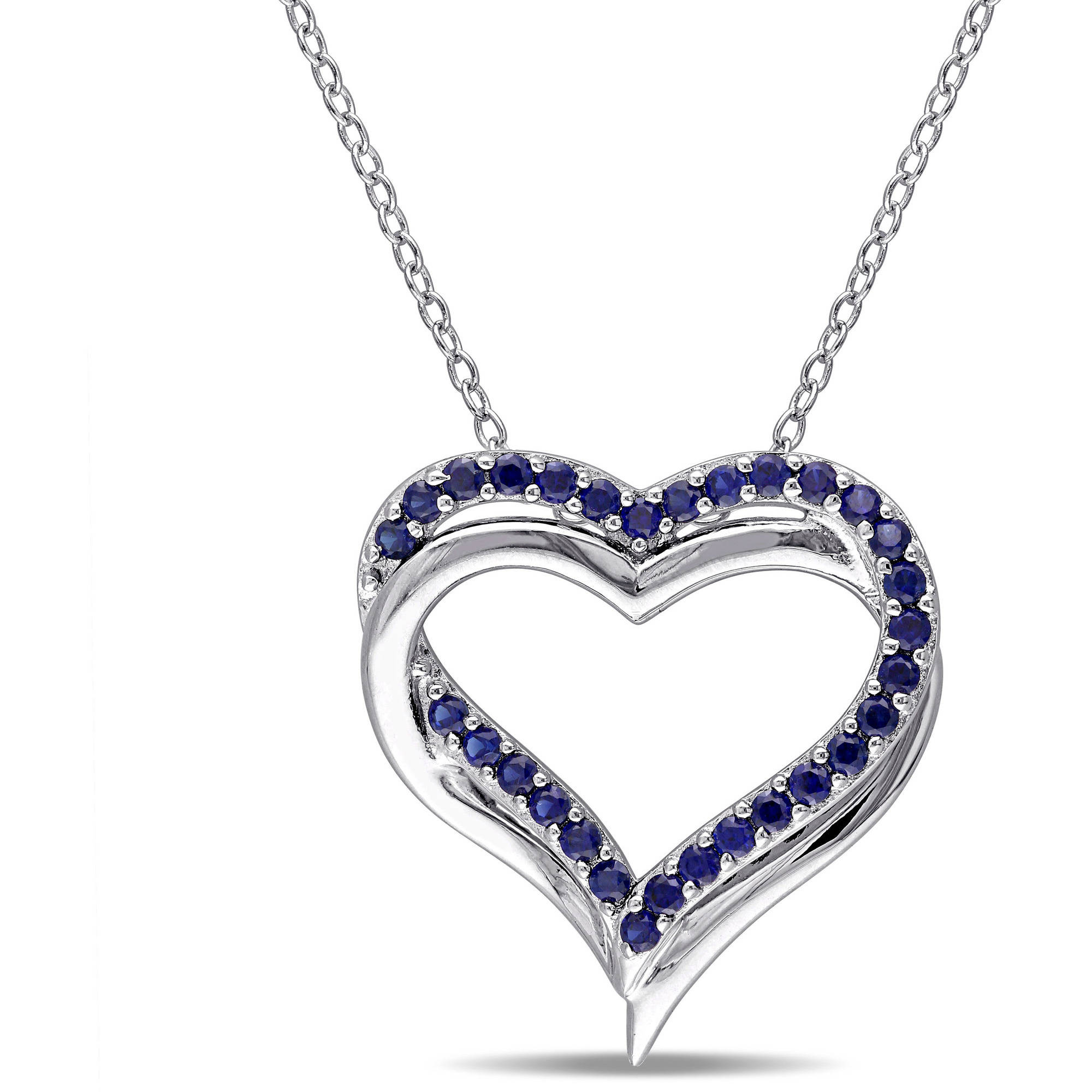 5/8 Carat T.G.W Created Blue Sapphire Sterling Silver Heart Interlocking Pendant