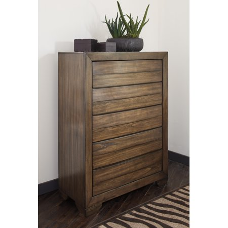 Ashley Furniture Mydarosa Brown Stain Finish Five Drawer Bedroom Storage Chest