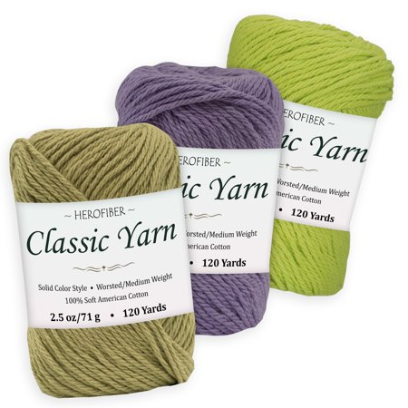Cotton Yarn - 3 Solid Colors [2.5 oz Each] | Olive + Purple Iris + Green Lime | Worsted/Medium Weight - Assortment for Knitting, Crochet, Needlework, Decor, Arts & Crafts Projects