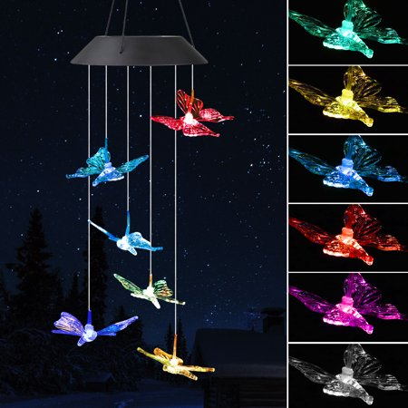 EEEkit  Hummingbird Solar Powered Bird Wind Chimes Outdoor Changing Color LED Bird Spinner Garden Decoration, ()