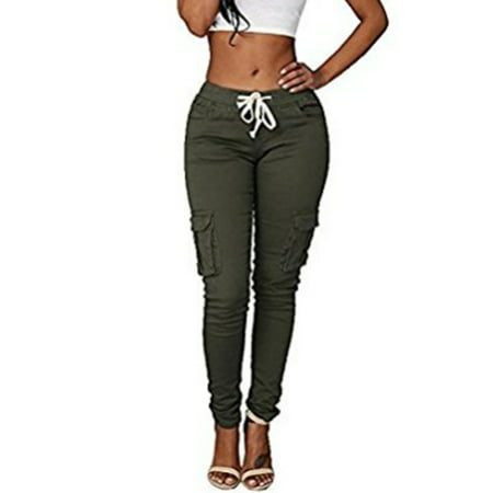 017dffe2bb JustVH Women's Casual Stretch Drawstring Skinny Cargo Jogger Pants High  Waist Tie Butt Lift Pant with Pockets - Walmart.com