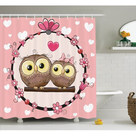 Owls Home Decor Shower Curtain Set Two Lovely Owls Couple On Tree Branch In