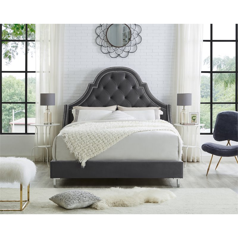 Aaron Grey Velvet Platform Bed Frame - Queen Size - Tufted - Nailhead