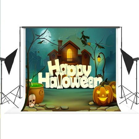 ABPHOTO Polyester Happy Halloween Cartoon Photography Backdrop Wizard Pumpkin Lantern Foto Booth Background for Halloween Cosplay Kids Sudio Photo 7X5ft (Kids Halloween Photo Booth)