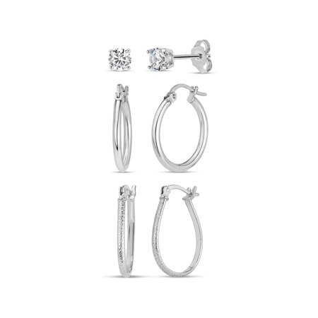 4mm Round White Cubic Zirconia Sterling Silver Studs and Pattern Pear shaped Hoops and Polished Round Tubing Hoops Set Earrings