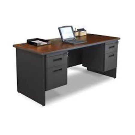 - Pronto PRNT2BKMAF1201 72 in. Single File Desk with Storage Shelf, Black & Mahogany - Windblown