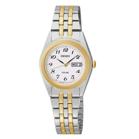 Women's Solar White Dial Two-Tone Watch SUT116 (Ladies Two Tone White Dial)