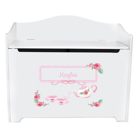 Tuck Box Tea Room - Personalized Tea Party White Toy Box Bench