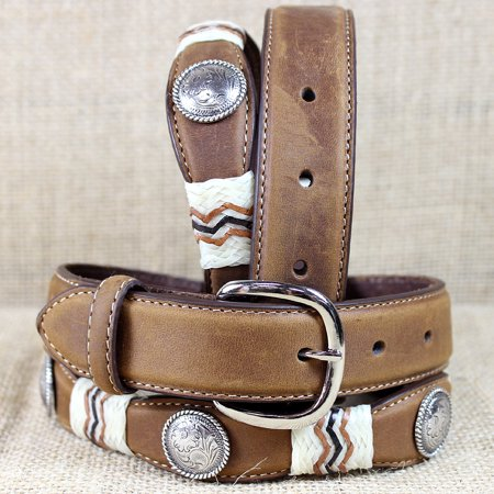 Series Buckaroo Leather - 30 inch TONY LAMA BROWN KIDS BUCKAROO PETITE CONCHO LEATHER WESTERN BELT