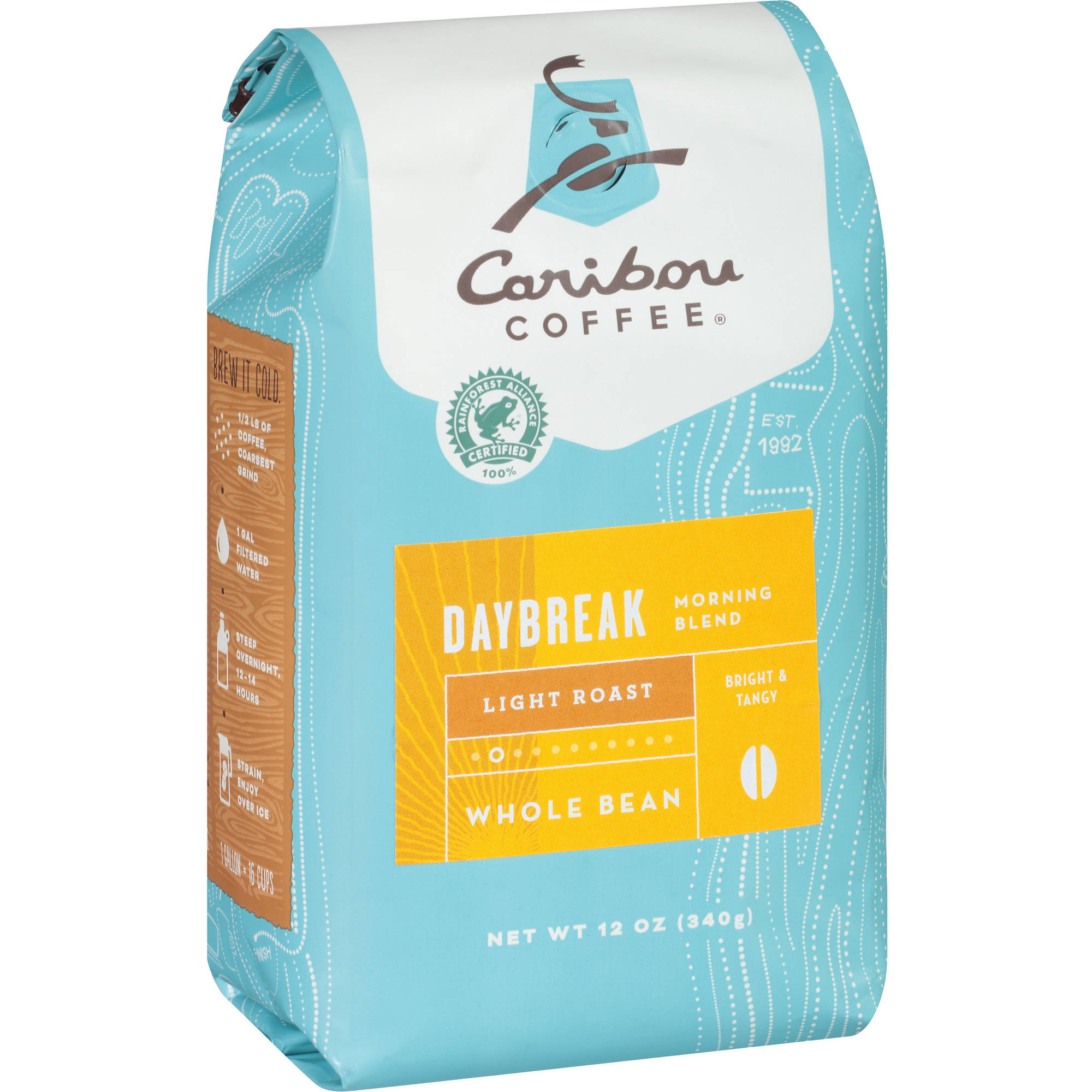 Caribou Coffee Morning Blend Daybreak Light Roast Whole Bean Coffee, 12 oz