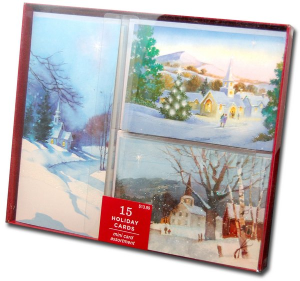 Image Arts Snowy Church Assortment Box of 15 Christmas Cards