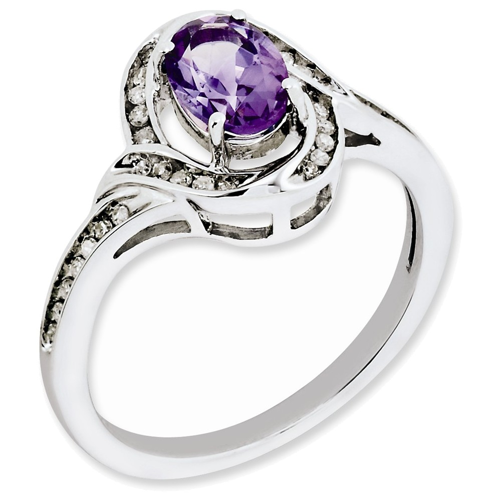 Sterling Silver Diamond & Amethyst Ring Size 10 by