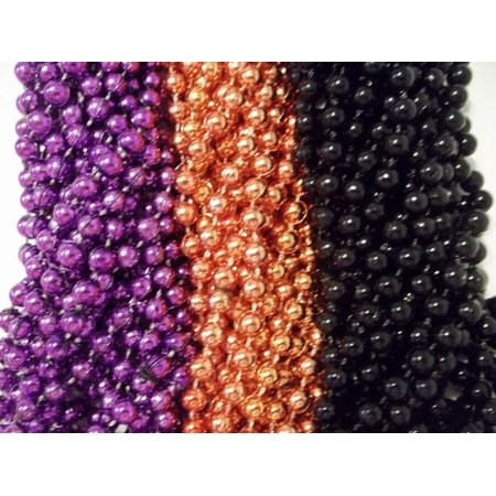 72 Purple Orange Black Halloween Mardi Gras Beads Necklaces Party Favors 6 Doz